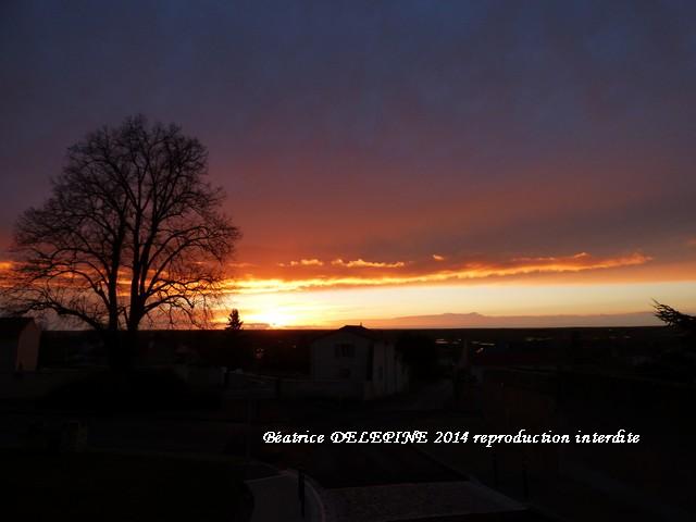 Coucher de soleil depuis la Rue Condorcet à Mirebeau